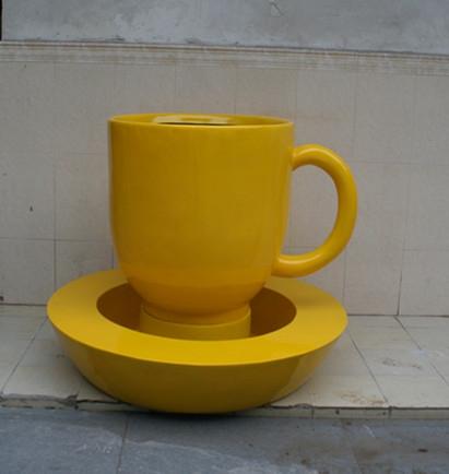 景观花盆     玻璃钢茶杯花盆