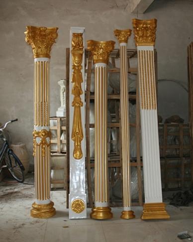 金条罗马柱玻璃钢雕塑