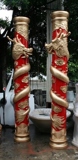 园林景观雕塑  龙柱玻璃钢雕塑