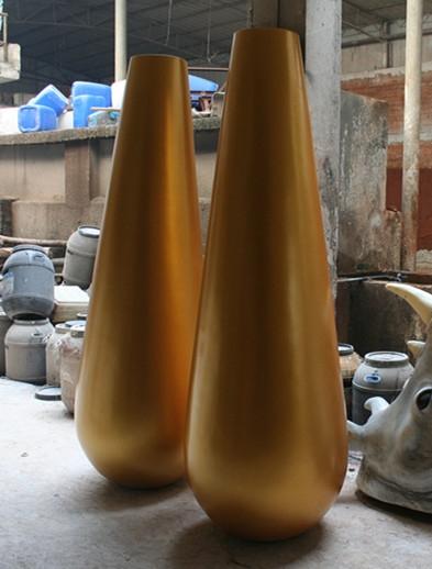 圆柱形花盆        金色玻璃钢花盆