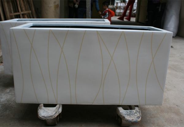 白色斜纹玻璃钢花槽