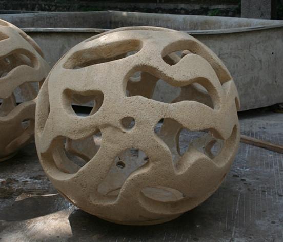 镂空工艺品  玻璃钢透光圆球工艺品