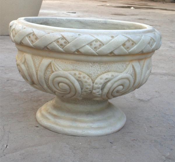 浅白色欧式 砂岩雕饰花盆