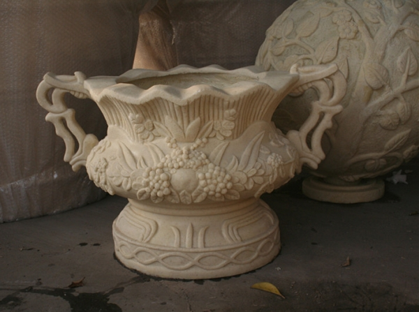 浅白色 欧式玻璃钢仿砂岩雕饰花盆