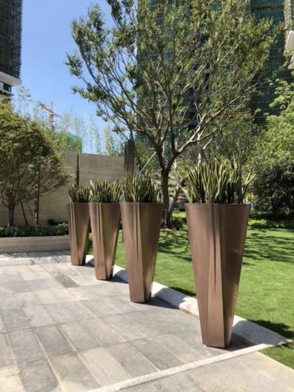 金色公园玻璃钢组合花盆