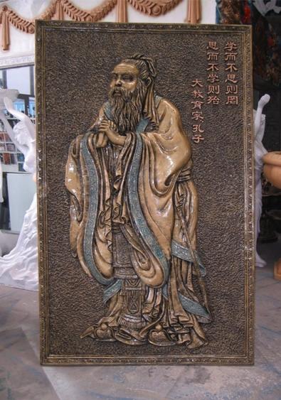 浮雕       孔子图玻璃钢雕塑