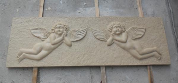 小天使小孩砂岩浮雕