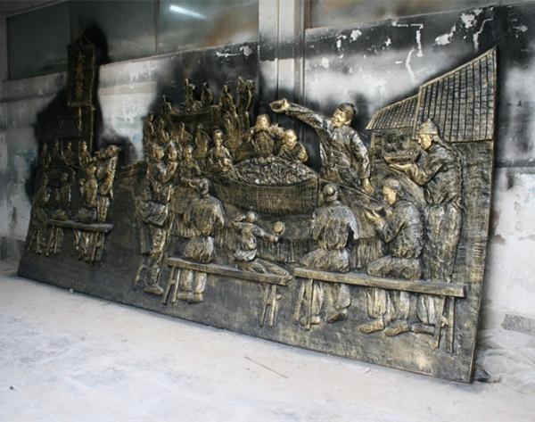 深圳浮雕       饮食人物玻璃钢雕塑