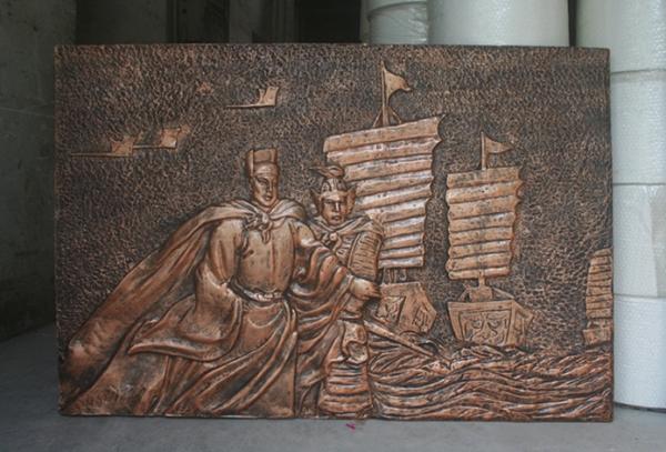 郑和下西洋人物浮雕郑成功人像玻璃钢雕塑