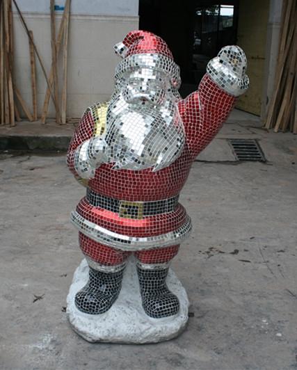 玻璃钢雕塑       马赛克圣诞老人雕塑
