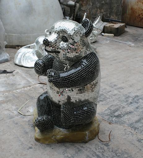 玻璃钢熊猫马赛克雕塑