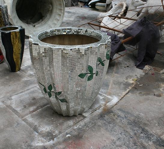 玻璃钢花盆    马赛克玻璃钢花盆