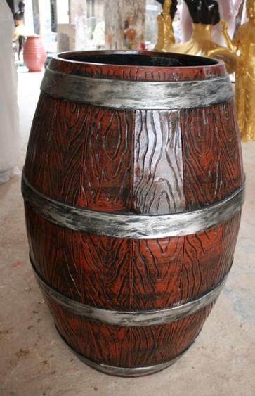 红色玻璃钢仿木桶花盆