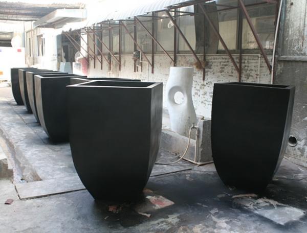 暗黑色 玻璃钢 花盆