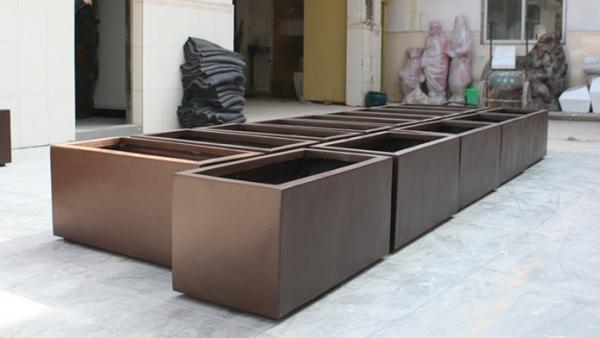 暗铜色玻璃钢组合花槽