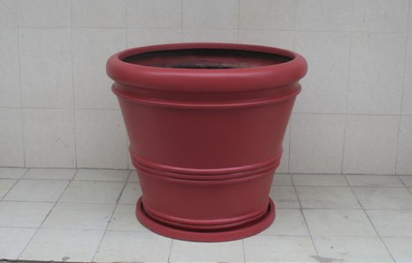 暗红色玻璃钢圆形花盆