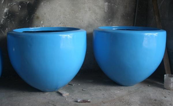 蓝色 玻璃钢组合花盆