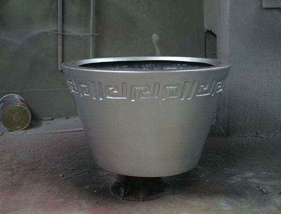 铅色斜纹玻璃钢花盆