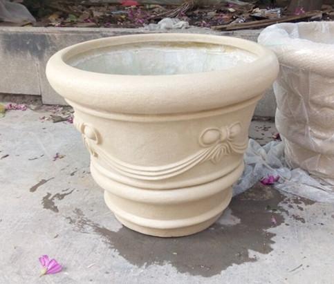 乳白色砂岩花盆
