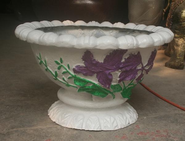 玻璃钢白色彩绘花盆