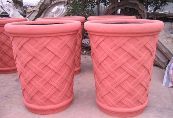 浅红色 砂岩组合花盆