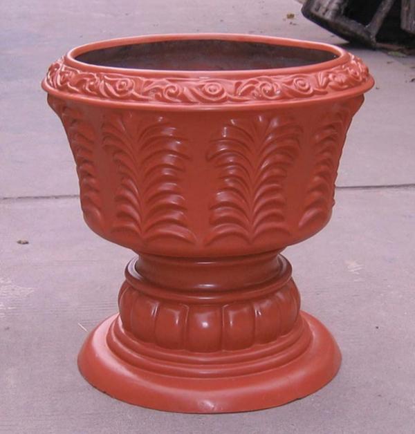 红色杯形玻璃钢花盆