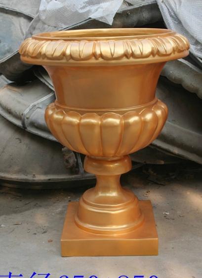 铜黄色杯状玻璃钢花盆