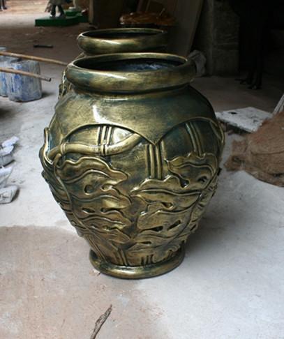 铜色玻璃钢组合花盆
