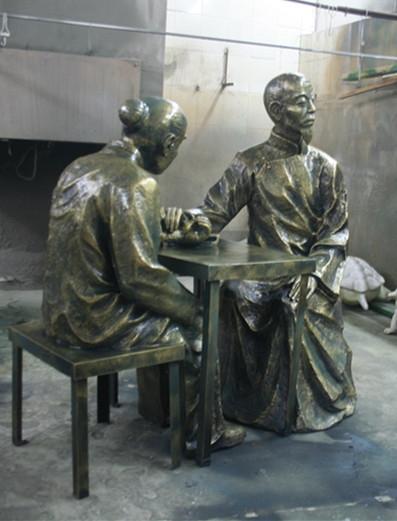 玻璃钢古代看医雕塑