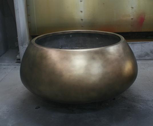 玻璃钢铜色花钵