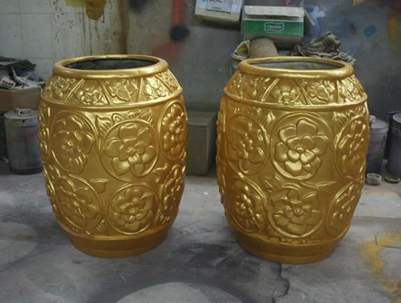 玻璃钢黄色花盆组合