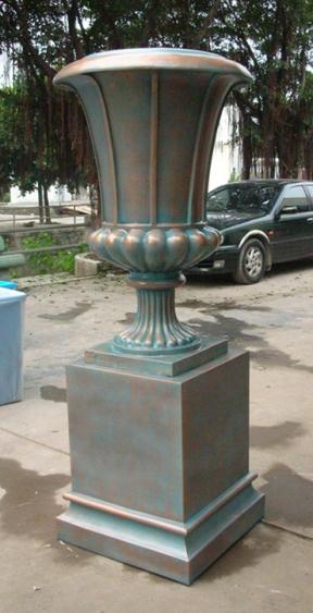 玻璃钢铜绿色花盆