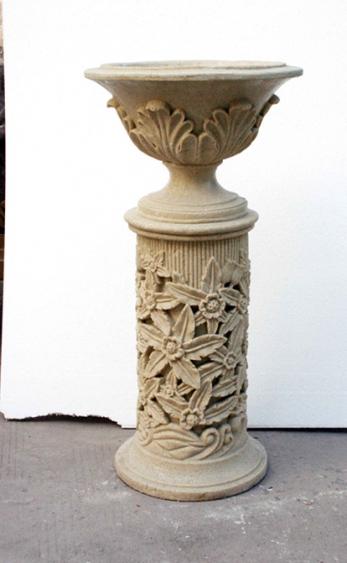 白色砂岩花托盆