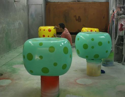 玻璃钢圆形座椅雕塑组合