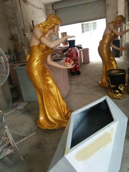 欧式贵妇人玻璃钢雕塑