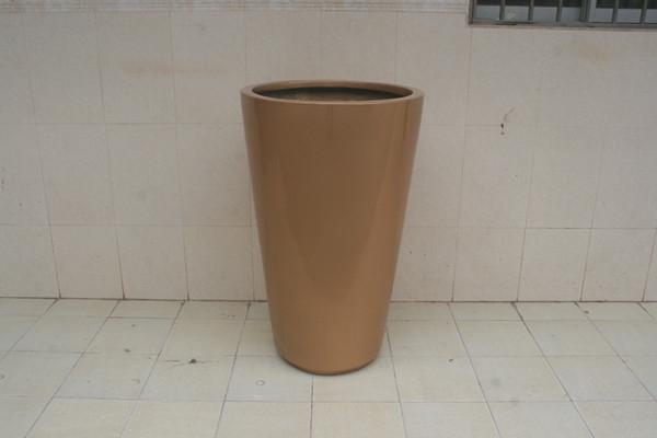 玻璃钢铜色花盆
