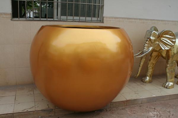 玻璃钢黄色花盆