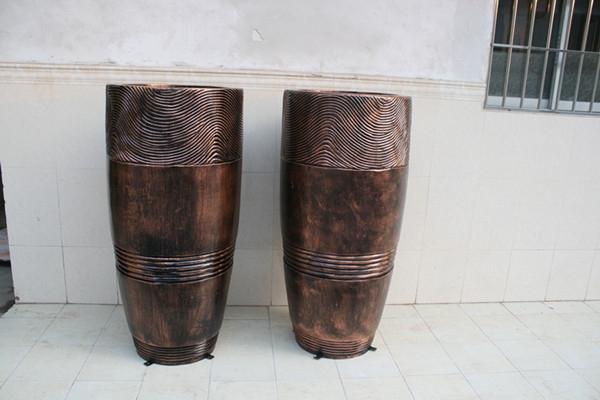 玻璃钢铜色花钵组合