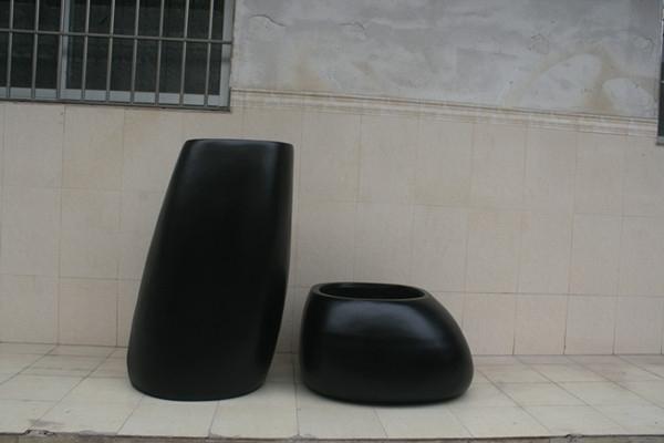 玻璃钢黑色商场组合花盆
