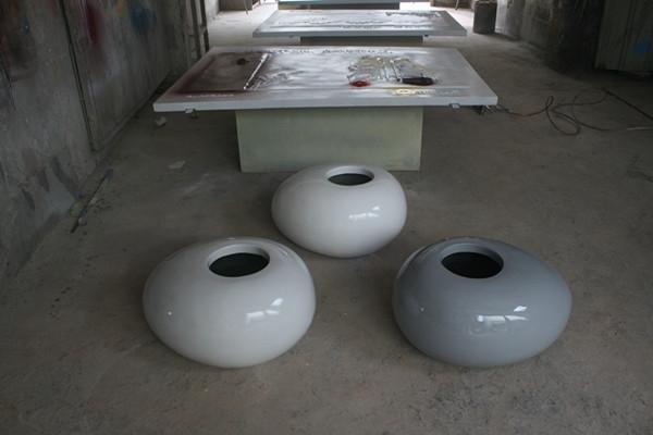 玻璃钢白色商场组合花钵