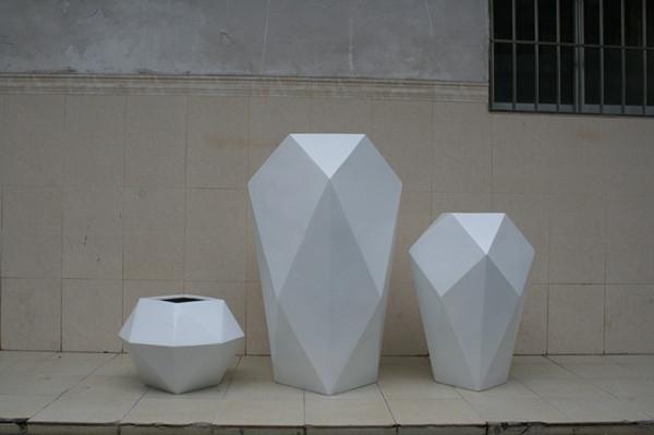 玻璃钢商场组合白色花盆