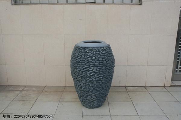 玻璃钢石青色景观花盆