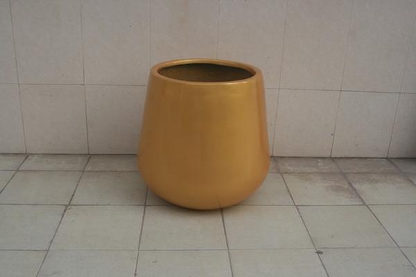 玻璃钢黄色小区花盆