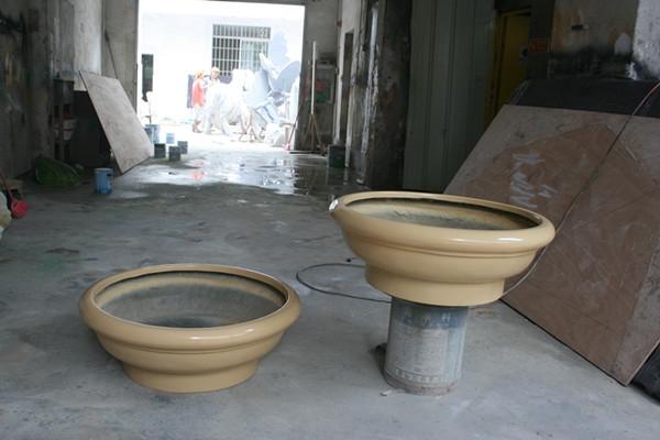 玻璃钢黄色石漆花盆
