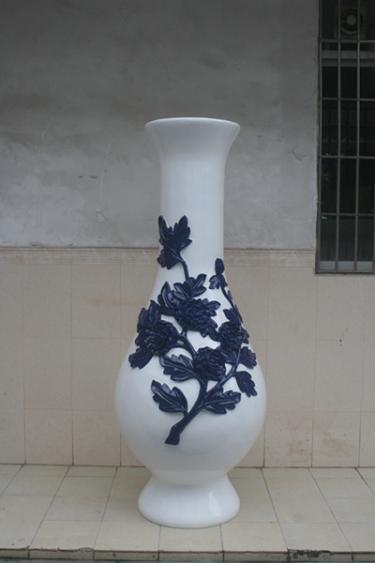 玻璃钢白色商场景观花瓶