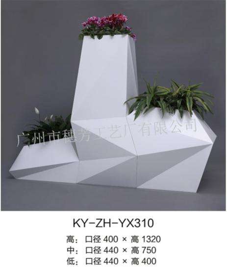 创意菱形不锈钢插花装饰花盆 酒店商场个性金属落地种植花盆
