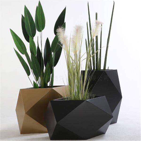 创意不锈钢花盆 北欧简约大号创意绿萝铁艺客厅铁架插花植物不锈钢盆 户外景观绿植装饰金属花钵