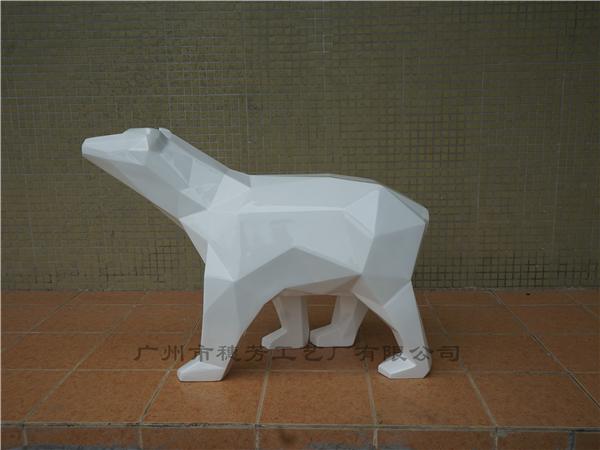 北极熊几何玻璃钢雕塑