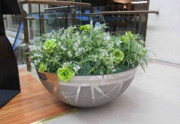 商场圆形美陈不锈钢花盆