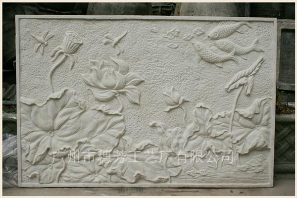 荷花莲藕砂岩浮雕